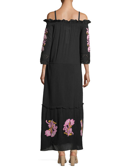 Noelle Off-the-Shoulder Embroidered Cotton Gauze Dress