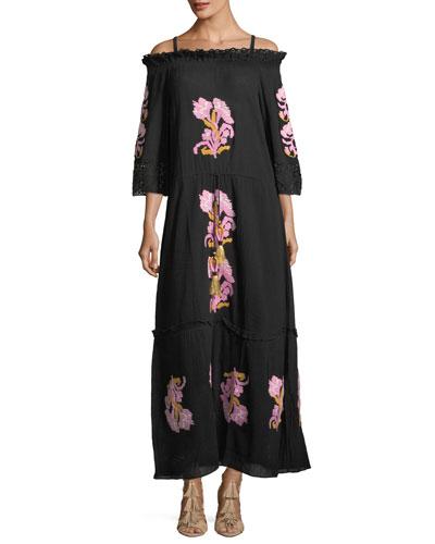 Noelle Off-the-Shoulder Embroidered Cotton Gauze Dress
