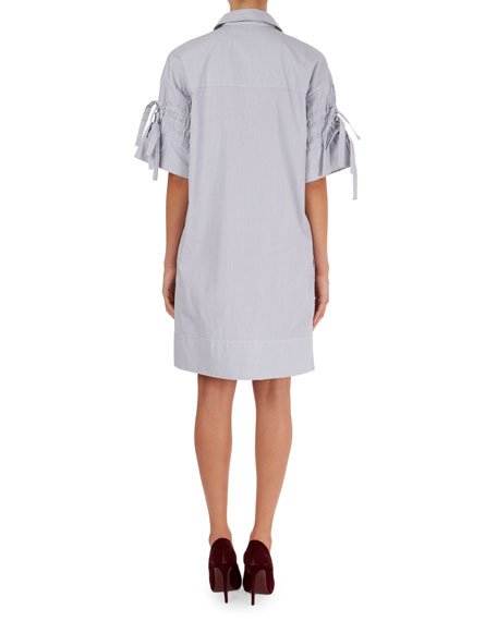 Pinstripe Poplin Shirtdress w/Tie Sleeves