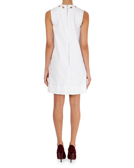 Cutout-Neck Shift Dress with Pockets