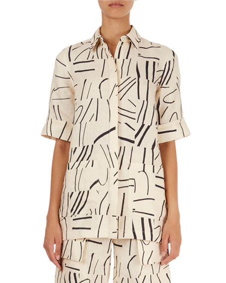 Painted-Line-Print Oversized Shirt