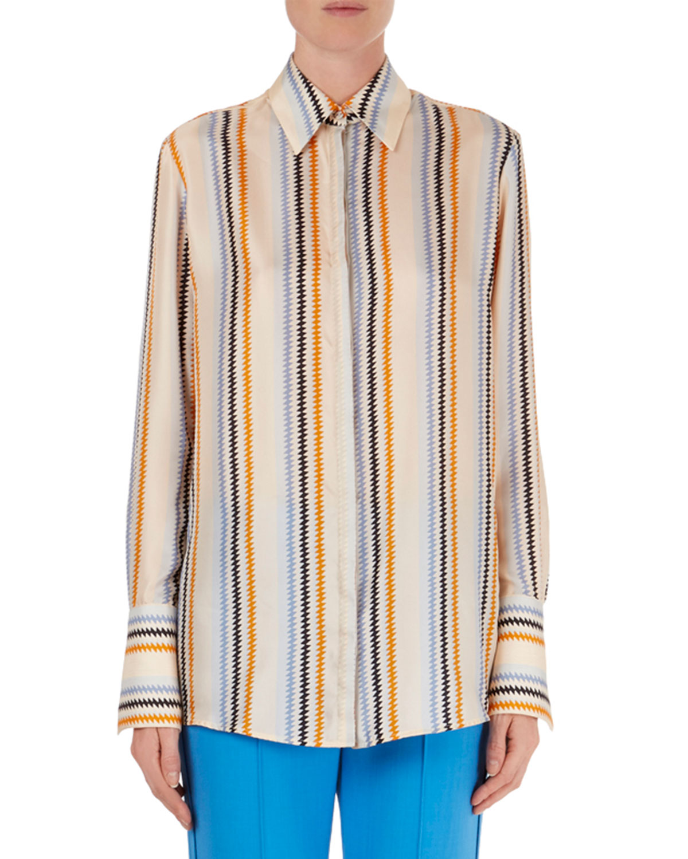 Victoria Beckham Zigzag Stripe Silk Blouse Flare Leg Zig Zag Shirtls Plack