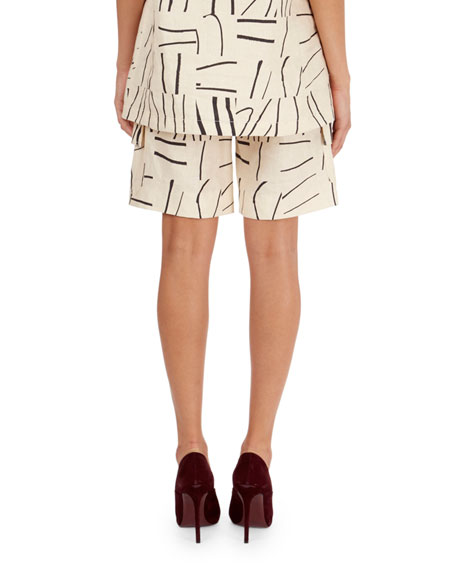 Painted-Line-Print Cargo Shorts