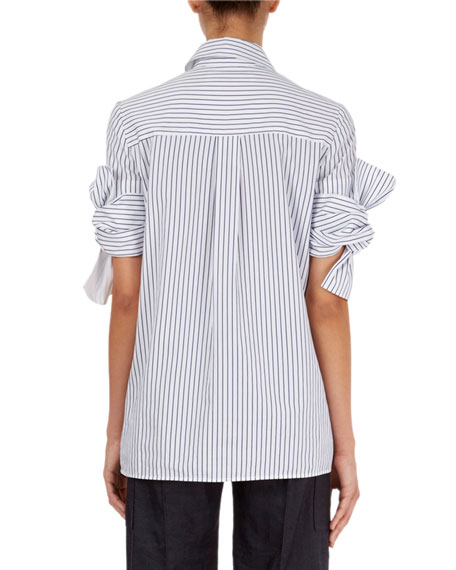 Striped Shirt w/Knotted-Bow Cuffs