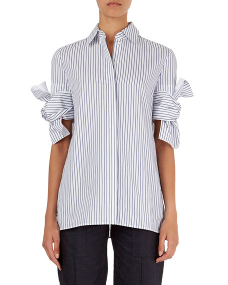 Striped Shirt with Knotted-Bow Cuffs