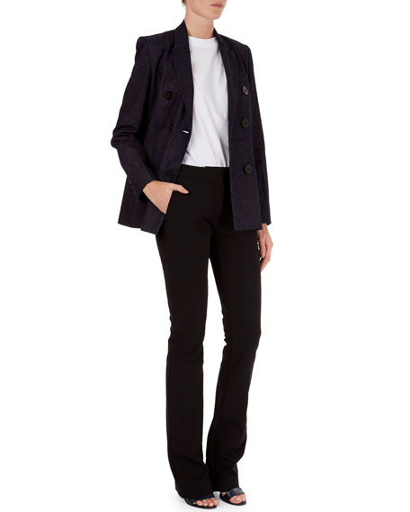 Double-Breasted Linen-Blend Blazer