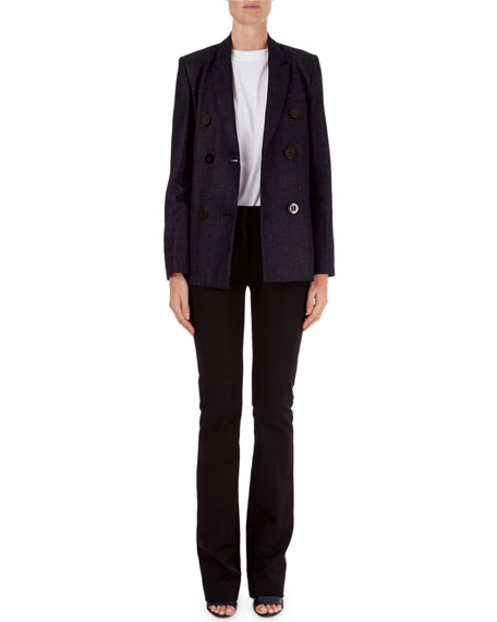 Double Breasted Linen Blend Blazer by Neiman Marcus