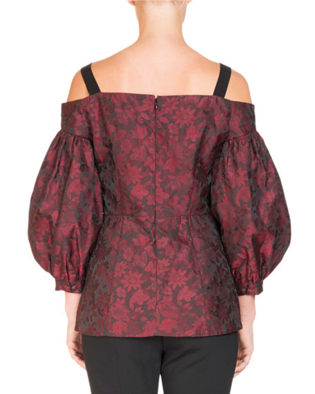 Off-the-Shoulder Bishop-Sleeve Floral-Jacquard Top with Jeweled Trim