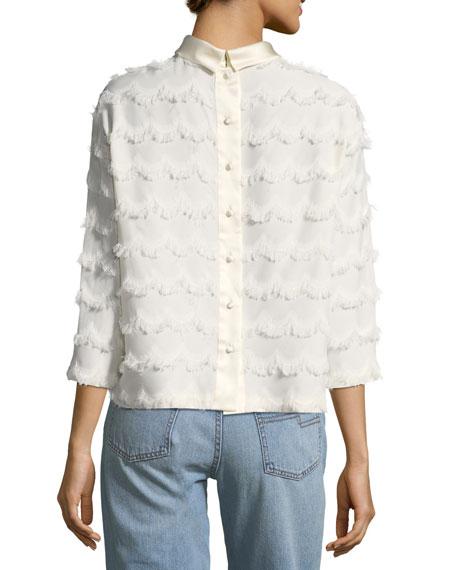 3/4-Sleeve Frayed Blouse