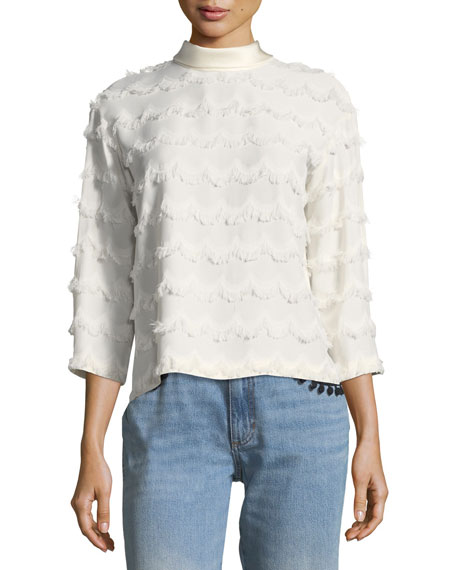 3/4-Sleeve Frayed Blouse