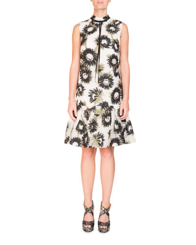 adc1ddbd8f71 Erdem Nena Sleeveless Daisy-Print Mock-Neck Trapeze Dress