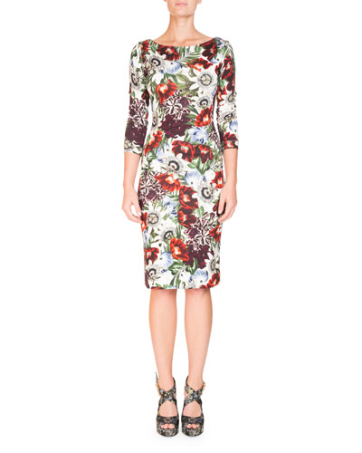 Reese Boat-Neck Rose-Print 3/4-Sleeve Sheath Day Dress