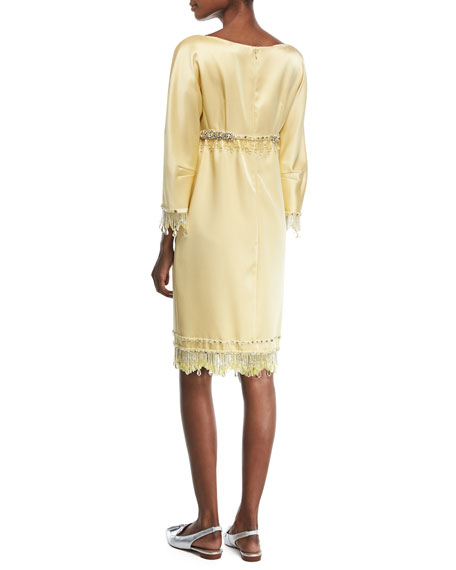 Beaded 3/4-Sleeve Satin Cocktail Dress
