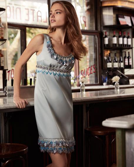 Sleeveless Beaded Duchess Satin Cocktail Dress