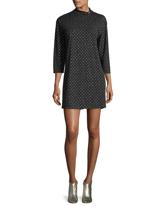 Marc Jacobs Mock-Neck 3/4-Sleeve Polka-Dot Dress | Neiman Marcus