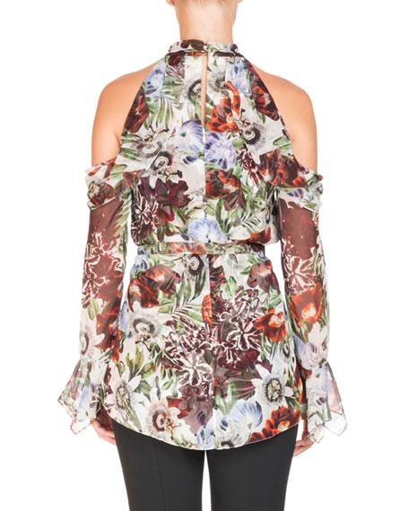 Surie Cold-Shoulder Halter Rose-Print Long-Sleeve Silk Blouse