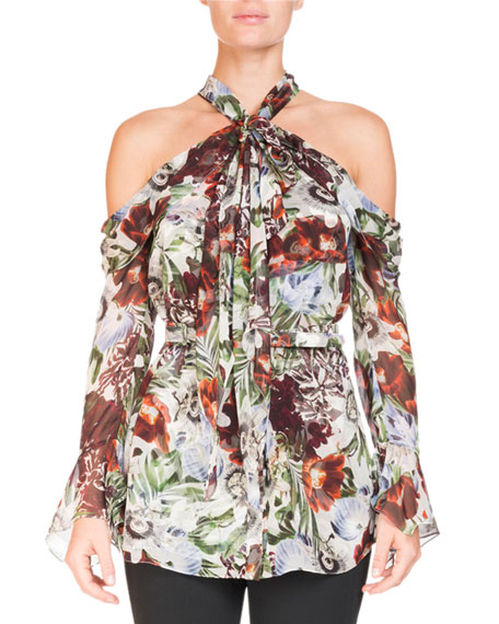 Surie Cold-Shoulder Halter Rose-Print Long-Sleeve Silk Blouse