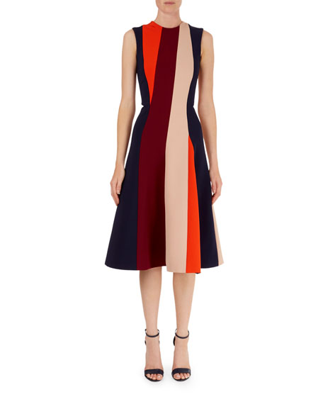 Colorblock Stripe Fit And Flare Dress by Neiman Marcus