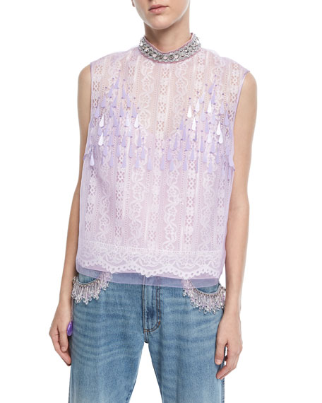 Marc Jacobs Sleeveless Embellished-Neck Lace-Front Top
