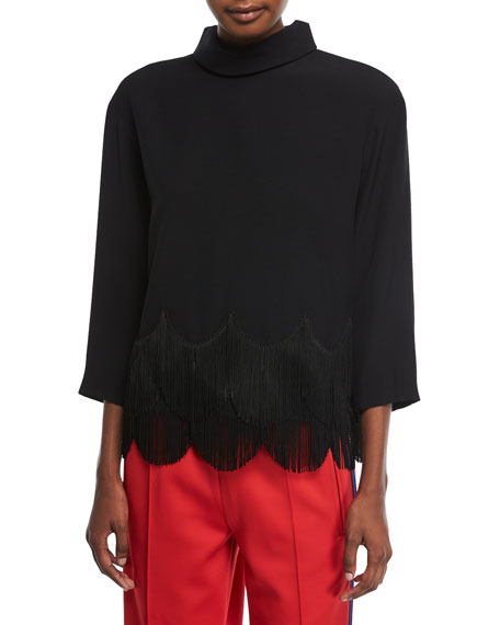 High-Collar 3/4-Sleeves Crepe Top with Fringe