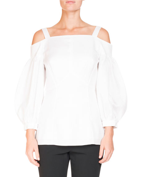 Off-the-Shoulder Bishop-Sleeve Cotton Pique Blouse