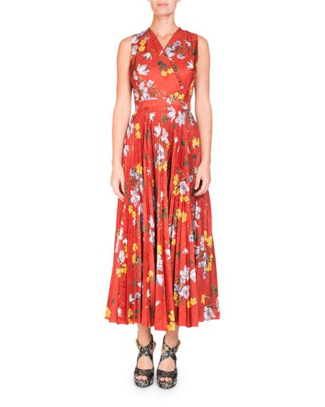 Erdem Noemi Sleeveless Wrap-Top Long Pleated Floral-Print Dress