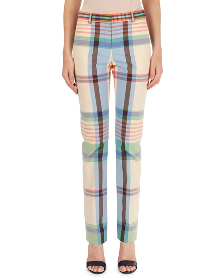 Madras Plaid Straight-Leg Pants