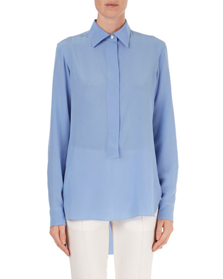 Silk High-Low Popover Blouse