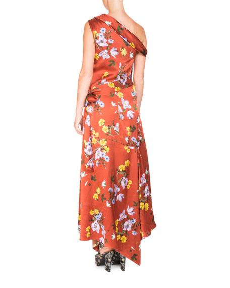 One-Shoulder Asymmetric Floral-Print Long Dress with Handkerchief Hem