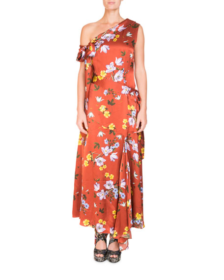 Erdem One-Shoulder Asymmetric Floral-Print Long Dress with
