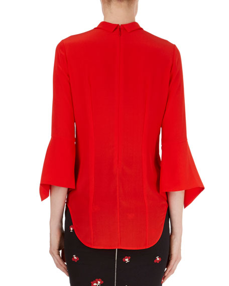 3/4 Knotted Silk Blouse