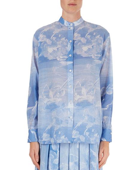 Victoria Beckham Cloud-Print Band-Collar Blouse & Pleated Skirt
