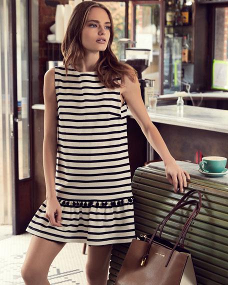 Sleeveless Striped Peplum Dress