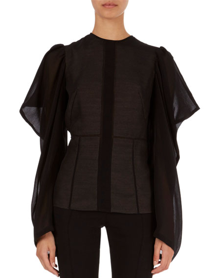 Butterfly-Sleeve Semisheer Top