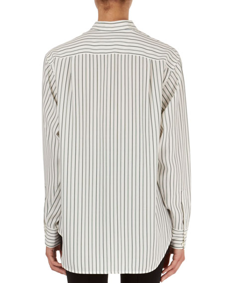 Striped Oversized Band-Collar Blouse