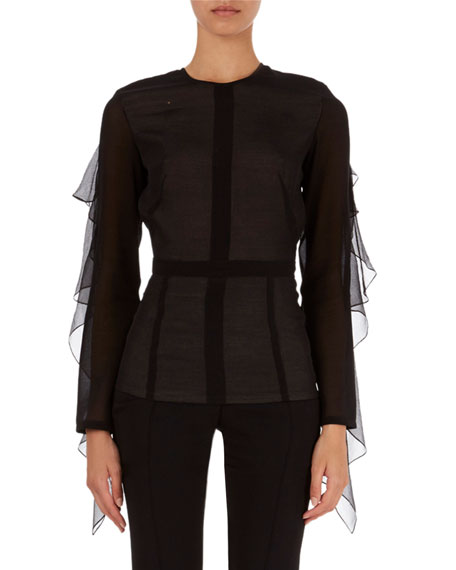 Victoria Beckham Ruffle-Trim Open-Back Top
