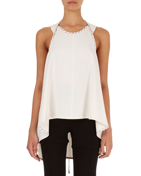 Wrap-Detail Top with High-Low Hem