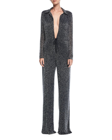 Naeem Khan Plunging Beaded Wide-Leg Jumpsuit