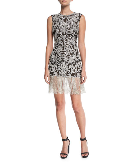 Naeem Khan Sleeveless Beaded Damask Fitted Cocktail Dress