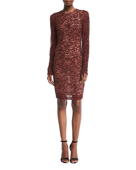 Naeem Khan High-Neck Long-Sleeve Beaded Cocktail Dress