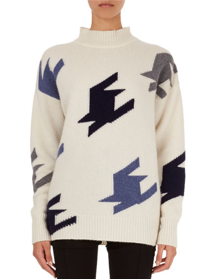Oversized Geometric Knit Cashmere Mock-Neck Sweater