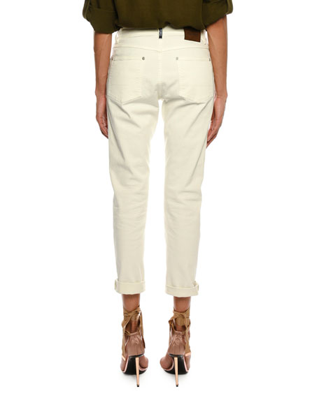 Mid-Rise Cropped Boyfriend-Style Jeans