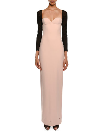 Sweetheart Attached Sleeves Column Evening Gown