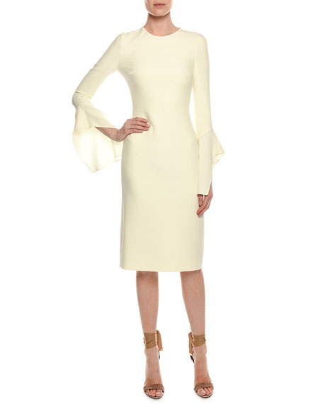 Bell-Sleeve Silk Sheath Cocktail Dress