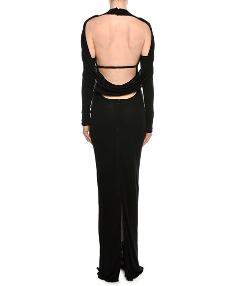 Drape Open-Back Long-Sleeve Evening Gown