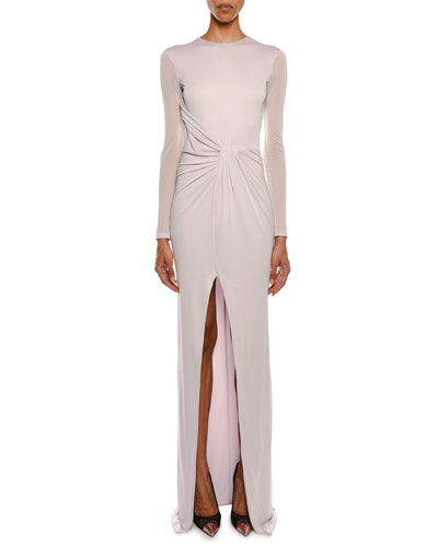 Long-Sleeve Draped Front High-Slit Column Evening Gown