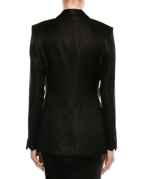 Shawl-Collar One-Button Crepe Blazer