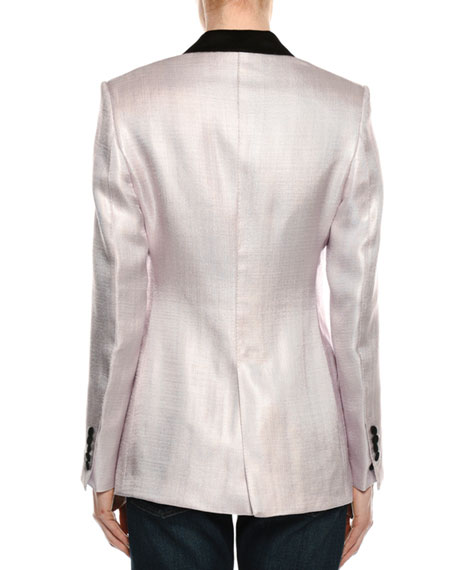 Satin Peak Lapel One-Button Blazer