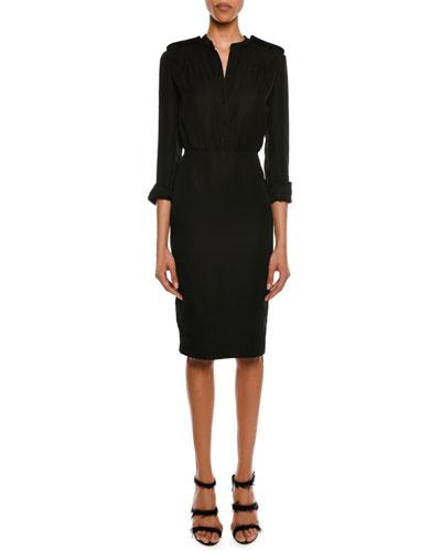 3/4-Sleeve Elastic-Waist Linen-Blend Dress