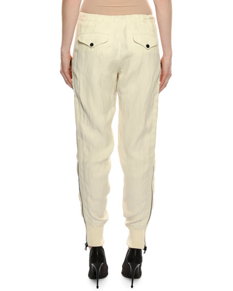 Drawstring Side-Zip Slouchy Track Pants
